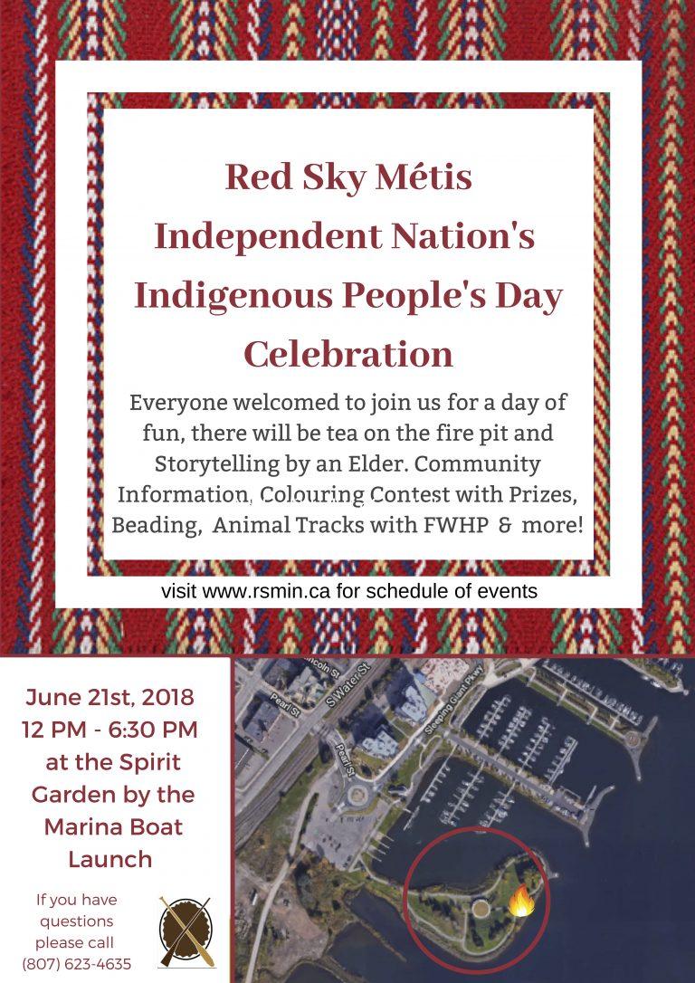 RED SKY MÉTIS INDEPENDENT NATION INDIGENOUS PEOPLE'S DAY CELEBRATION